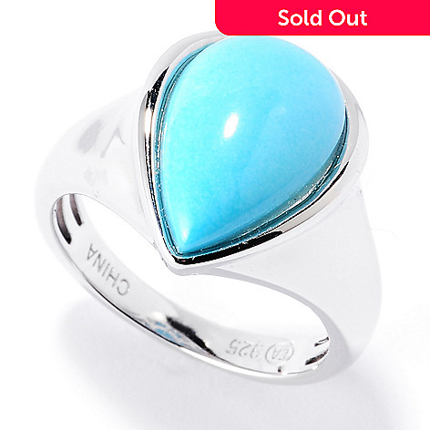 126-083 - Gem Insider Sterling Silver 14 x 9mm Sleeping Beauty Turquoise Pear Shaped Ring