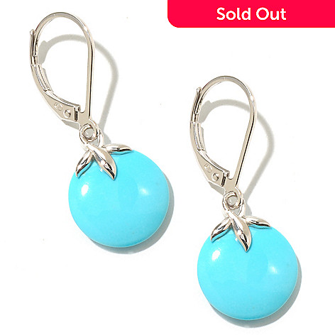 126-085 - Gem Insider™ Sterling Silver 12mm Round Sleeping Beauty Turquoise Earrings