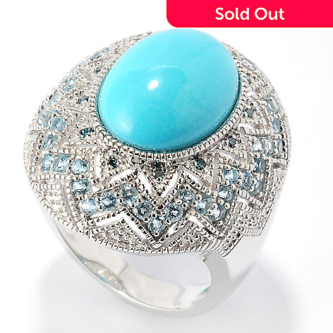 126-086 - Gem Insider™ Sterling Silver 14 x 10mm Sleeping Beauty Turquoise & Multi Gemstone Ring