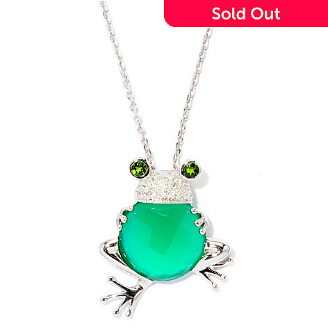 126-097 - NYC II 6.38ctw Onyx & Chrome Diopside Frog Pendant w/ 18'' Chain
