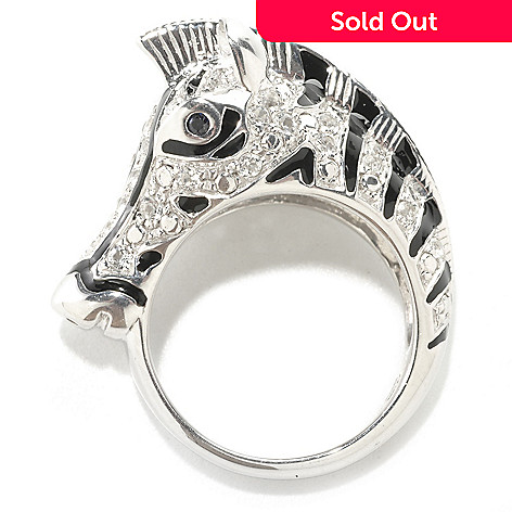 126-099 - NYC II White Topaz, Sapphire & Black Enamel Zebra Ring
