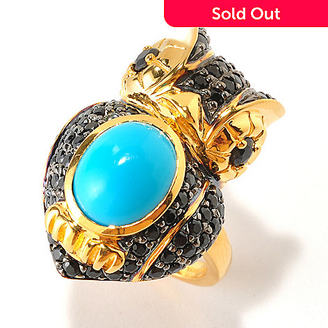 126-100 - NYC II 11 x 9mm Turquoise & Multi Gemstone Owl Ring