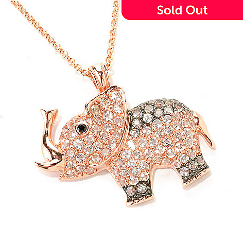 126-101 - NYC II 2.97ctw White Topaz & Black Spinel Elephant Pendant w/ 18'' Chain