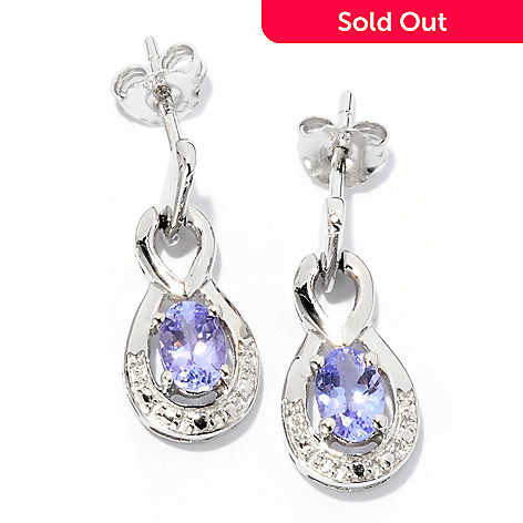 126-108 - Gem Treasures Sterling Silver Oval Tanzanite Earrings