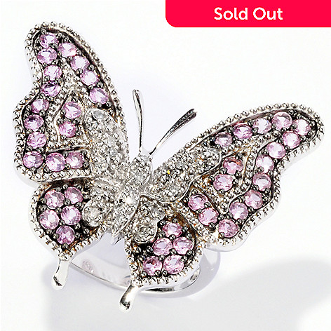 126-112 - Gem Treasures Sterling Silver 1.82ctw Diamond & Pink Sapphire Butterfly Ring