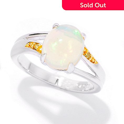126-113 - Gem Treasures Sterling Silver 9.5 x 7.5mm Opal & Yellow Diamond Ring