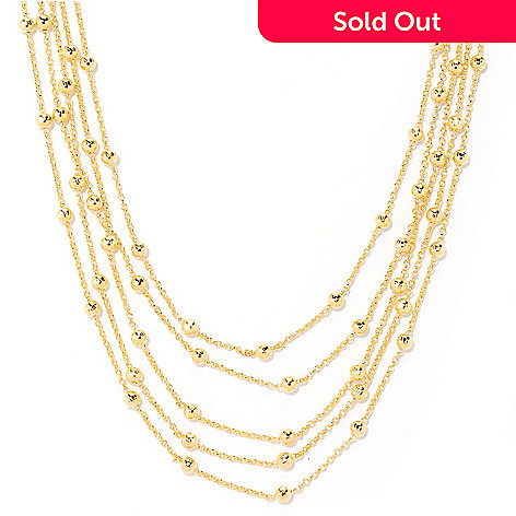 126-122 - Scintilloro™ Gold Embraced™ 18'' Multi Strand Station Necklace w/ 2'' Extender