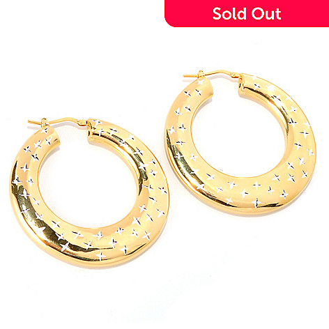 126-129 - Scintilloro™ Gold Embraced™ Diamond-Cut High Polished Hoop Earrings