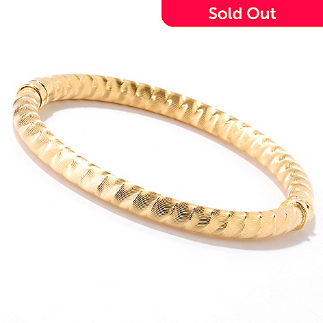 126-130 - Scintilloro™ Gold Embraced™ Diamond Cut Spiral Hinged Bangle Bracelet