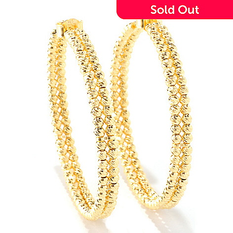 126-135 - Scintilloro™ Gold Embraced™ Diamond-Cut Double Bead Hoop Earrings