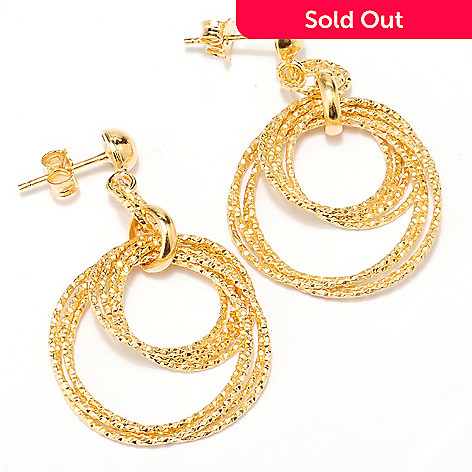 126-136 - Scintilloro™ Gold Embraced™ Multi-Circle Double Link Drop Earrings