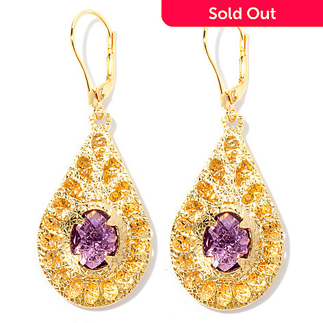 126-137 - Scintilloro™ Gold Embraced™ 4.24ctw Amethyst Teardrop Earrings
