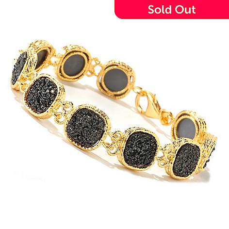 126-138 - Scintilloro™ Gold Embraced™ 8'' Black Drusy Link Bracelet