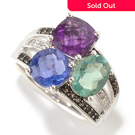 126-144 - Gem Insider™ 4.22ctw Multi Color Fluorite, Quartz & White Sapphire Ring