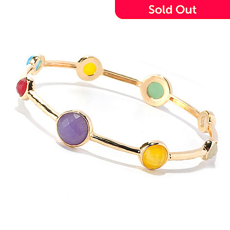 126-149 - Gem Insider™ Multi Color Faceted Bezel Set Jade Bangle Bracelet