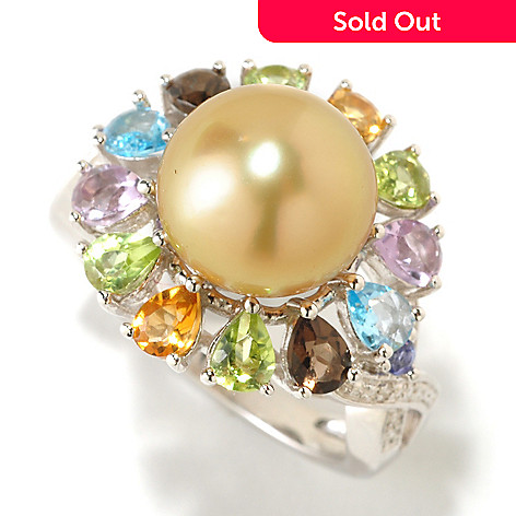 126-155 - Sterling Silver 10-11mm Golden South Sea Cultured Pearl & Multi Gemstone Ring