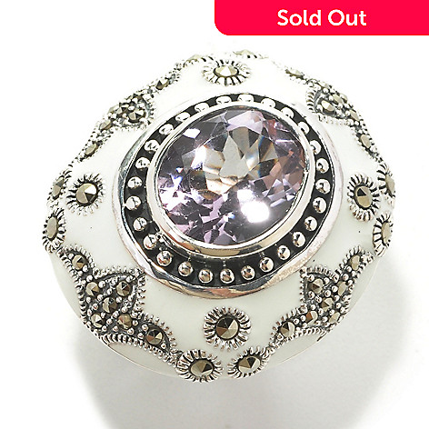 126-161 - Dallas Prince Sterling Silver Amethyst Ring Made w/ Swarovski® Marcasite
