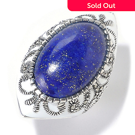 126-164 - Dallas Prince Sterling Silver Oval Lapis Ring Made w/ Swarovski® Marcasite