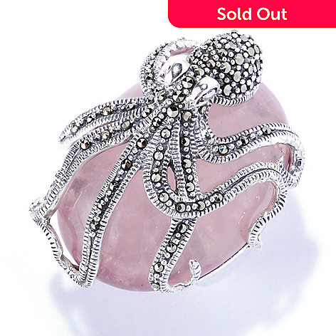 126-166 - Swarovski® Marcasite by Dallas Prince Sterling Silver Octopus Ring