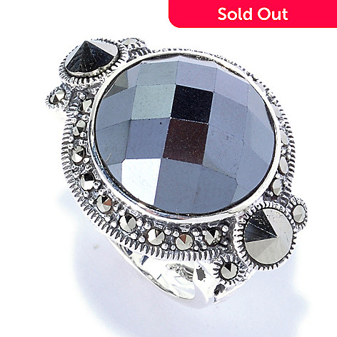 126-172 -  Dallas Prince Sterling Silver 16mm Hematite Ring Made w/ Swarovski® Marcasite