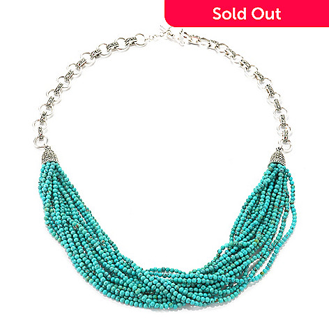126-180 - Dallas Prince Sterling Silver Turquoise Necklace Made w/ Swarovski® Marcasite
