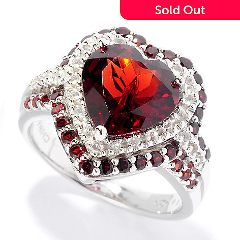 126-183 - Gem Insider Sterling Silver 4.00ctw Garnet & White Topaz Heart Shaped Ring