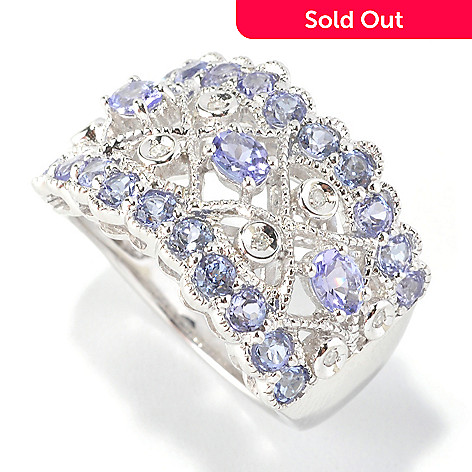 126-187 - Gem Insider™ Sterling Silver 1.29ctw Tanzanite & Diamond Wide Band Ring