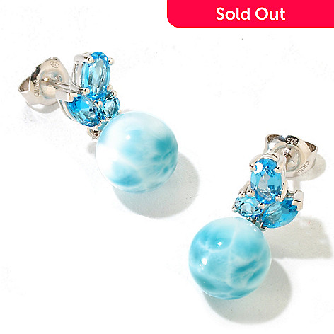 126-188 - Gem Insider™ Sterling Silver 10mm Larimar Bead & Swiss Blue Topaz Earrings