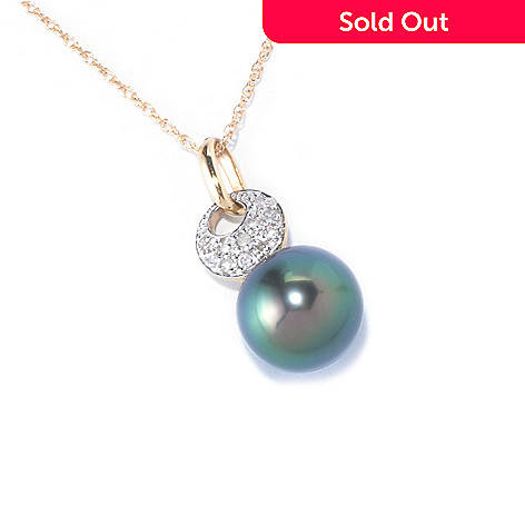126-189 - 14K Gold 11-12mm Green Tahitian Cultured Pearl & Diamond Pendant w/ 18'' Chain