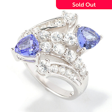 126-194 - Gem Insider™ Sterling Silver 3.00ctw Tanzanite & Zircon Double Bypass Ring