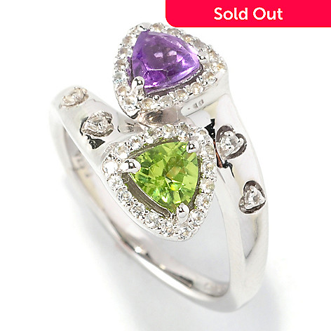 126-197 - Gem Insider™ Sterling Silver 1.00ctw Amethyst, Peridot & White Topaz Bypass Ring