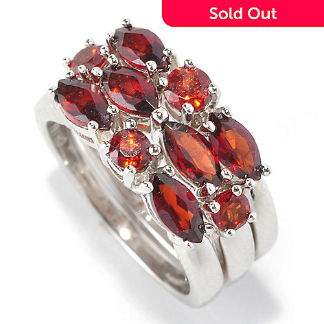 126-200 - Gem Insider™ Set of Three Sterling Silver 2.50ctw Garnet Stack Rings