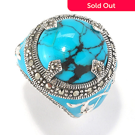 126-202 - Dallas Prince Sterling Silver Turquoise Ring Made w/ Swarovski® Marcasite