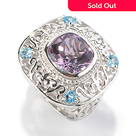 126-204 - Gem Insider™ Sterling Silver 4.30ctw Amethyst & Swiss Blue Topaz Cushion Shape Ring