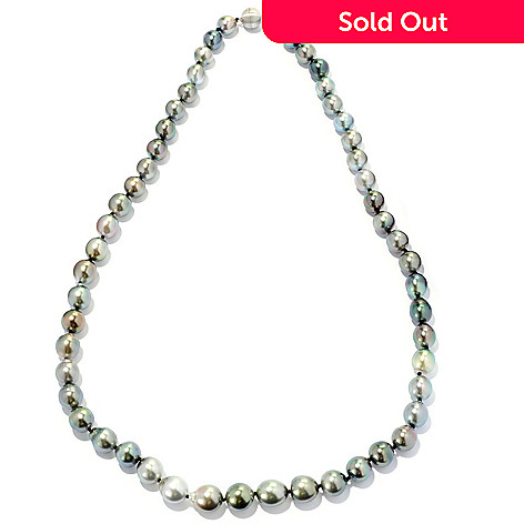 126-205 - 14K White Gold 24'' 9-11mm Pastel Tahitian Cultured Pearl Necklace w/ Magnetic Clasp