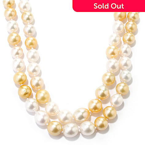 126-207 - 14K Gold 9-11mm White & Golden Cultured South Sea Pearl Double Strand Necklace