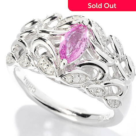 126-209 - Gem Insider™ Sterling Silver 0.74ctw Pink Sapphire & Diamond Marquise Band Ring