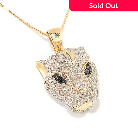 126-215 - Diamond Treasures 14K Gold 0.50ctw White & Black Diamond Lion Head Pendant w/ Chain