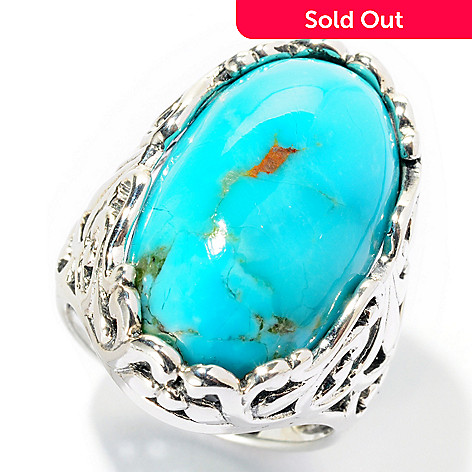 126-217 - Gem Insider™ Sterling Silver 23 x 13mm Oval Turquoise Scrollwork Ring