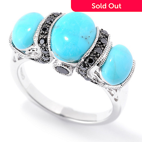 126-221 - Gem Insider® Sterling Silver 9x7mm Oval Kingman Turquoise & Spinel Ring