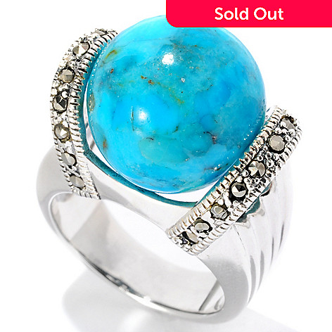 126-222 - Gem Insider™ Sterling Silver 14mm Turquoise & Grey Marcasite Ball Ring