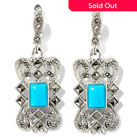 126-224 - Gem Insider™ 1.5'' Sterling Silver 8 x 6mm Turquoise & Marcasite Openwork Earrings
