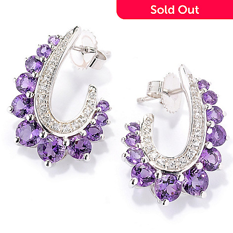 126-226 - Gem Insider™ Sterling Silver White Topaz & Gemstone ''J'' Shaped Earrings