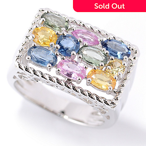 126-227 - Gem Insider™ Sterling Silver 2.00ctw Multi Color Sapphire Rectangle Ring