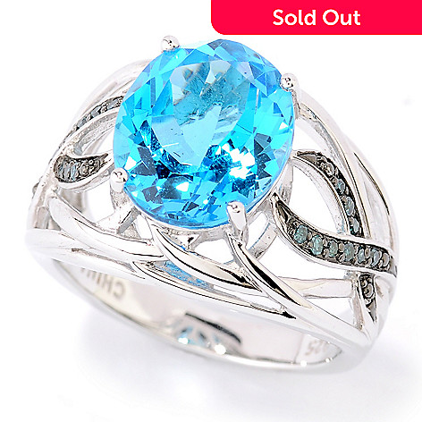 126-229 - Gem Insider™ Sterling Silver 4.59ctw Oval Blue Topaz & Diamond Ribbon Ring