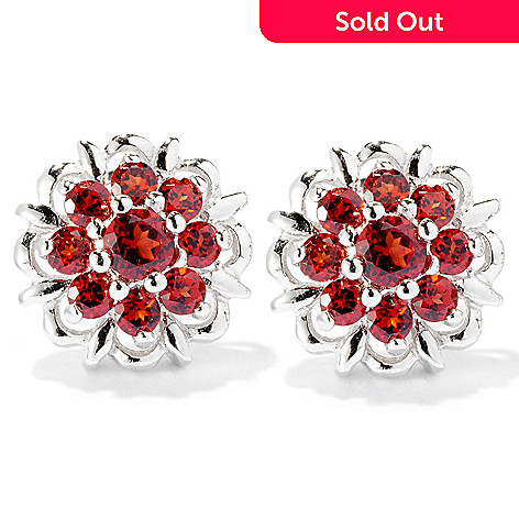 126-234 - Gem Insider Sterling Silver Garnet Flower Earrings