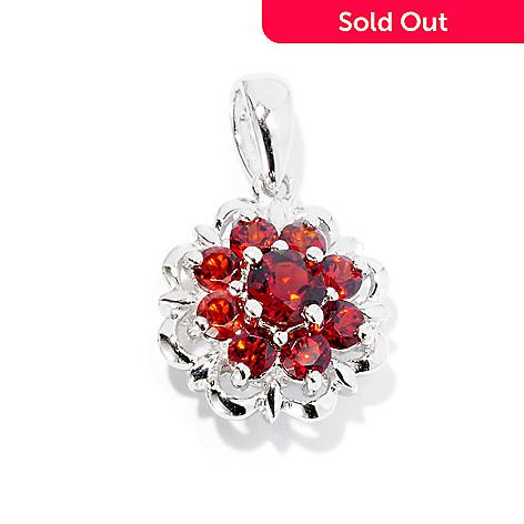 126-236 - Gem Insider™ Sterling Silver Garnet Flower Pendant