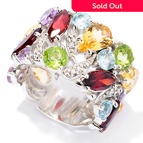 126-238 - Gem Insider Sterling Silver 9.98ctw Multi Gem Band Ring