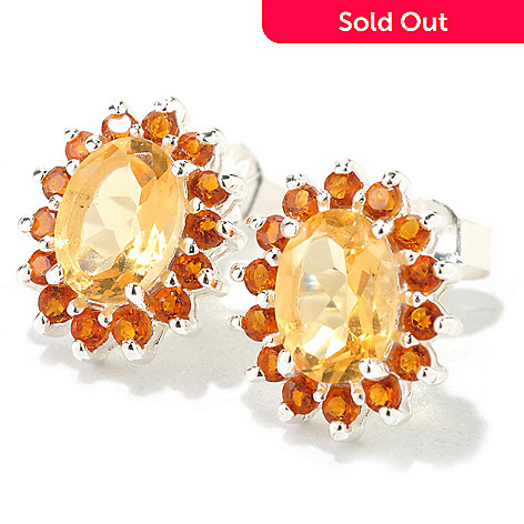 126-245 - Gem Insider Sterling Silver 1.76ctw Citrine Oval Earrings