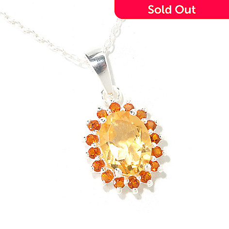 126-246 - Gem Insider™ Sterling Silver 1.08ctw Citrine Oval Pendant w/ Chain